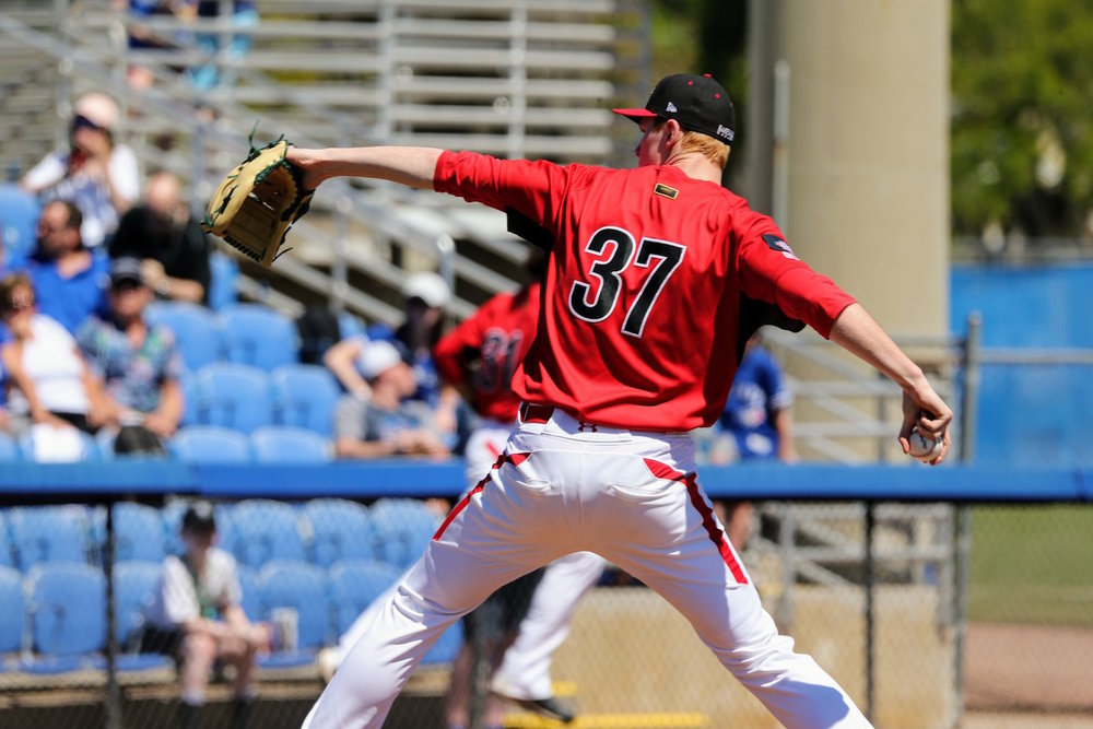 Great Lake Canadians pitcher Eric Cerantola (Oakville, Ont.) started and tossed three no-hit innings against a team of Houston Astros prospects on Wednesday. Photo Credit: Amanda Fewer