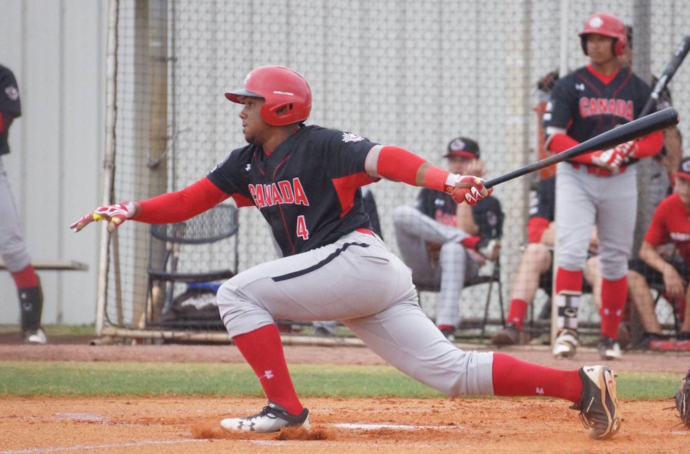 LaRon Smith (Spruce Grove, Alta.) had two hits for the Canadian Junior National Team in their 7-2 loss to a team of Washington Nationals' prospects on Thursday. Photo Credit: Eddie Michels