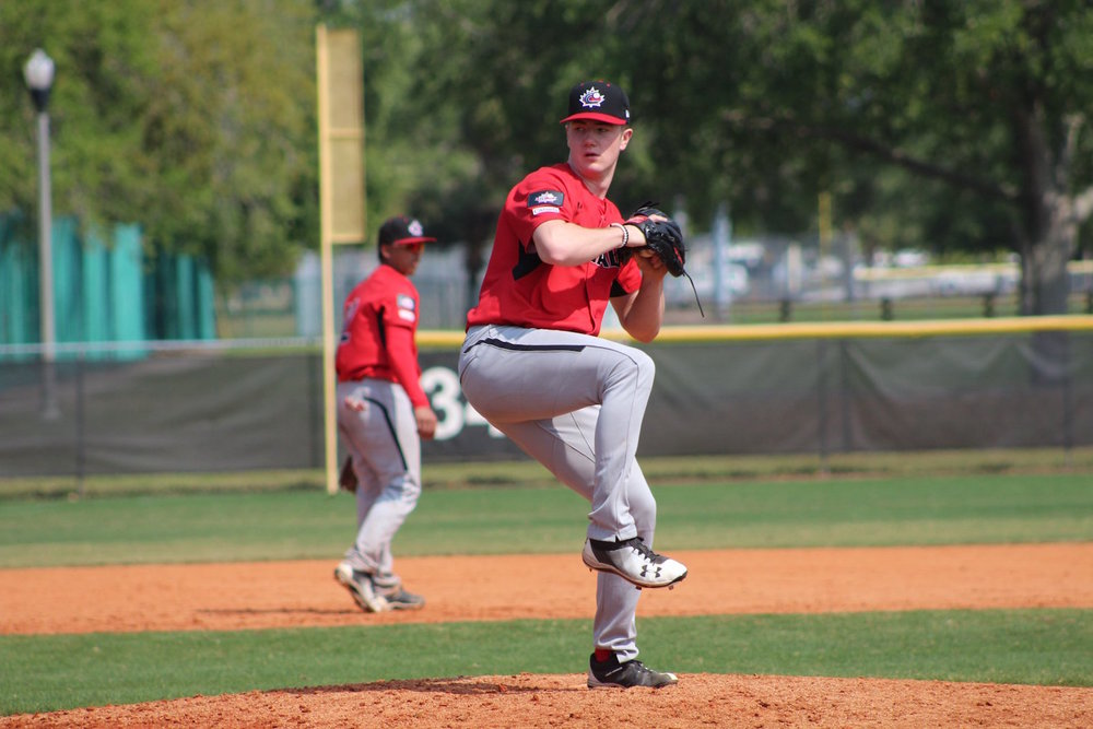 Toronto Mets pitcher Keegan Pulford-Thorpe (Newmarket, Ont.) started and tossed three scoreless innings for the Canadian Junior National Team on Friday. Photo Credit: Baseball Canada