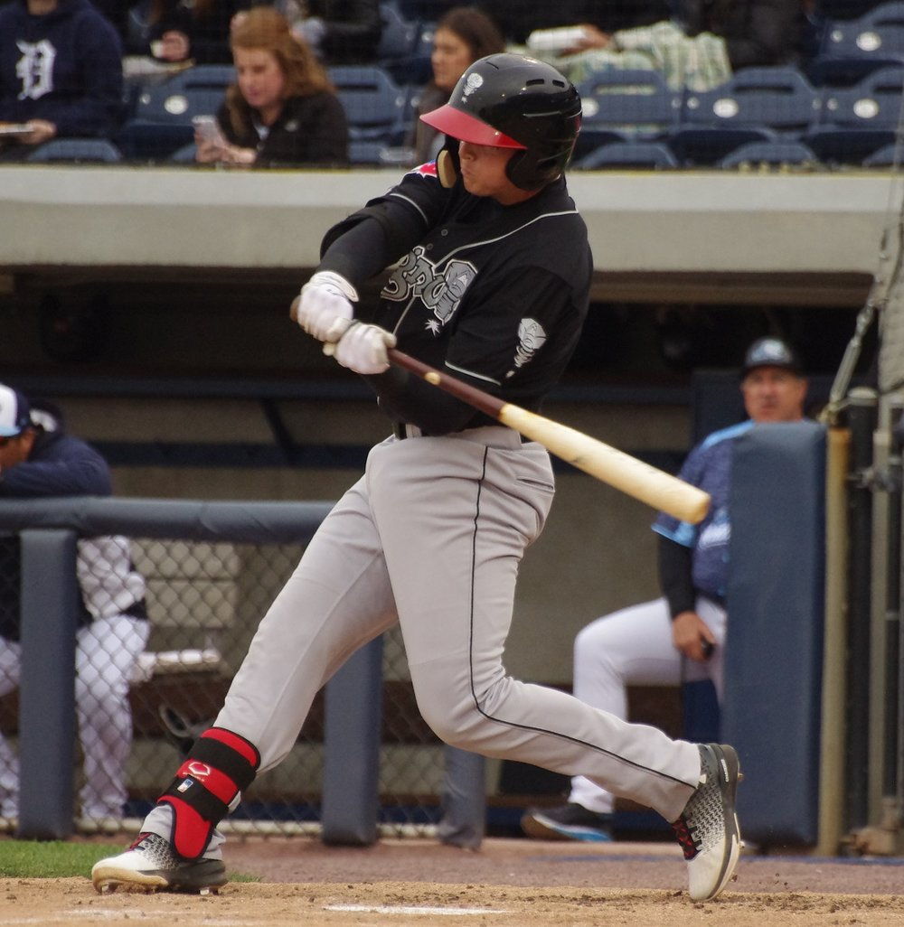 Kacy Clemens was 2-for-2 with a double, a home run, three walks, three runs and three RBI to lead the low-A Lansing Lugnuts to a 11-7 win over the West Michigan Whitecaps in the first game of a doubleheader on Friday. Photo Credit: Jay Blue