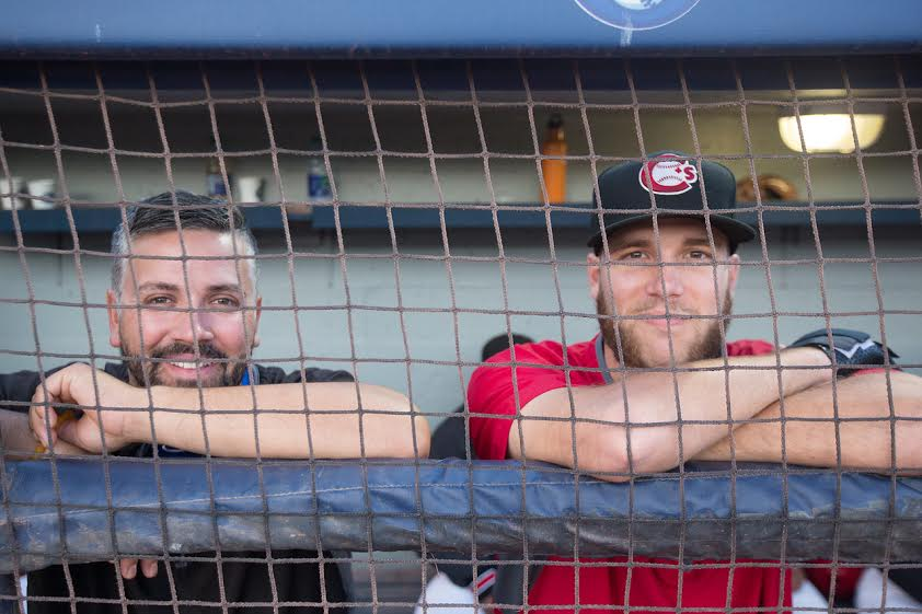 Vancouver Canadians clubhouse manager John Stewart (Brighton, Ont.) with INF Cullen Large, who hit .246 with the C's last year. Large is with the class-A  Lansing Lugnuts this spring. Photos: Mark Steffens.