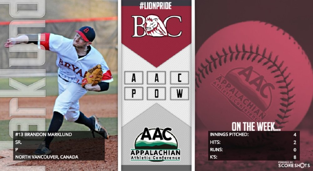 Former North Shore Twin and Langley Blaze grad Brandon Marklund (North Vancouver, BC), pitched the Bryan Lions to the Appalachian Athletic Conference regular season championship.
