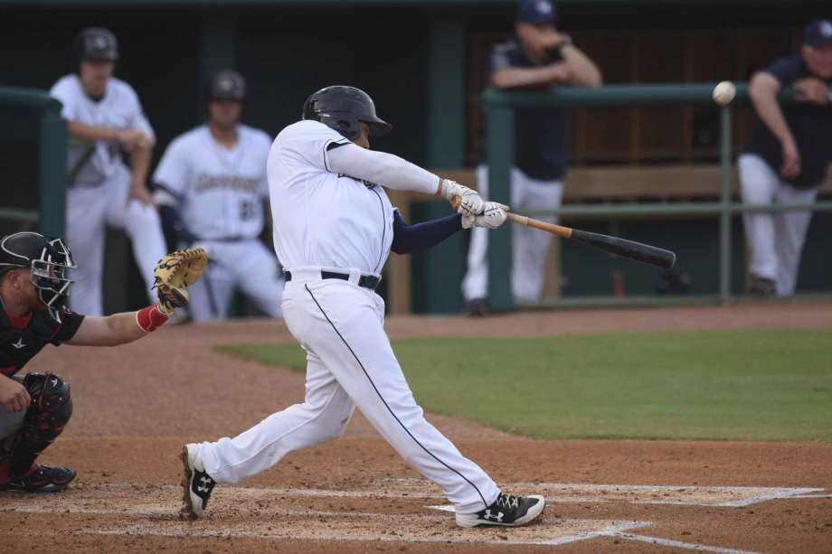 Former Ontario Blue Jays 1B Josh Naylor (Mississauga, Ont.) is filling the gaps with line drives at double-A San Antonio. Photo: San Antonio Express.
