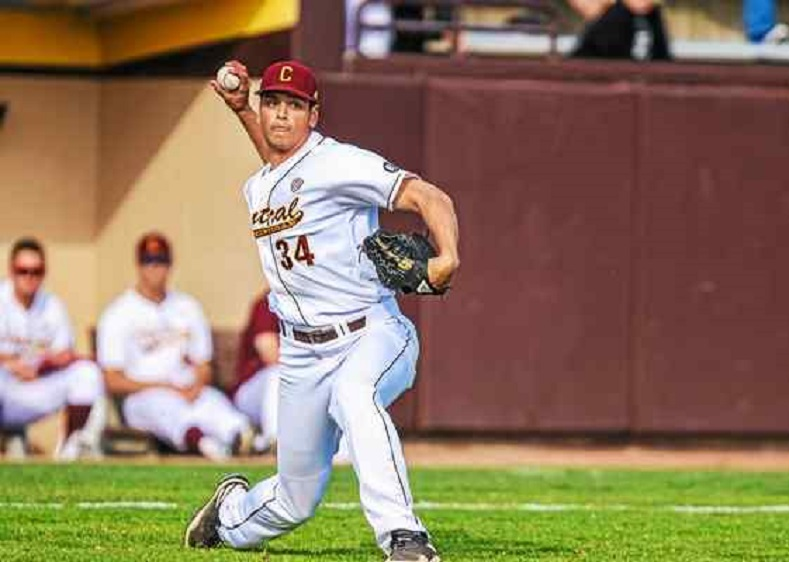 Former Great Lake Canadian Michael Bretttell (Fonthill, Ont.) pitched a complete game and fanned five for the Central Michigan Chipppewas.Photo: Monica Bradburn CMU Athletics.