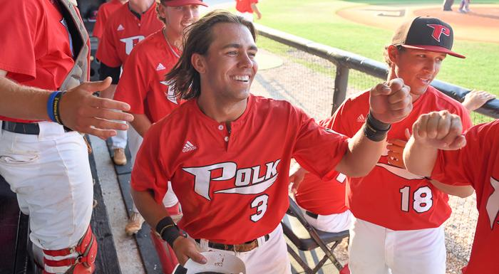 Ex-Langley Blaze Danny Berg (Saskatoon, Sask.) went 5-for-7 (.714) with three RBIs for the Polk State Eagles. Photo: Tom Hagerty.