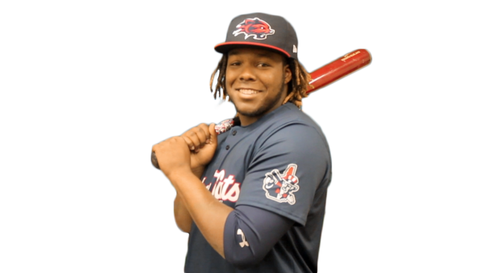Toronto Blue Jays prized prospect Vladimir Guerrero Jr. is batting .400 with six home runs for the double-A New Hampshire Fisher Cats this season. Photo Credit: Dave Schofield, New Hampshire Fisher Cats