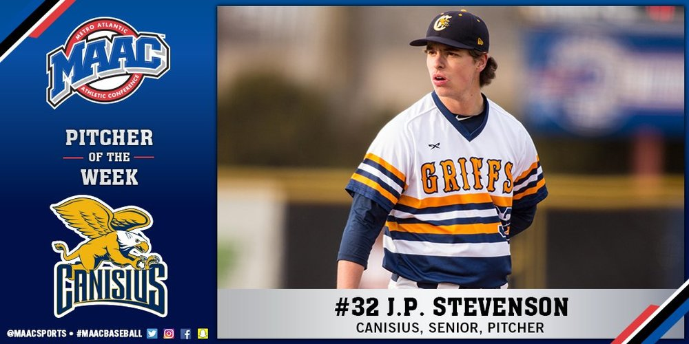 Vauxhall Academy Jets grad JP Stevenson (New Glasgow, PEi) worked seven innings allowing one run for the Canisius Golden Griffs.