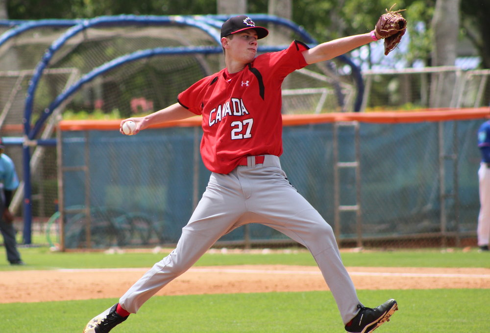 Griffin Hassall (Newmarket, Ont.) tossed five shutout innings for the Canadian Junior National Team on Friday. Photo Credit: Baseball Canada