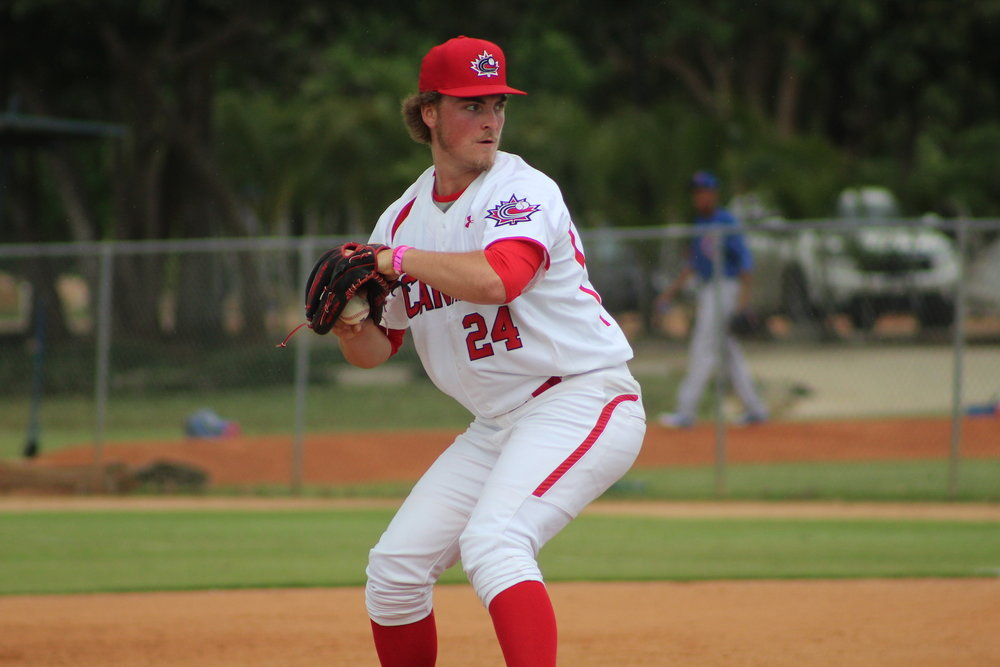 Right-hander Tate Dearing (White Rock, B.C.) struck out five and didn't allow a hit in 2 2/3 innings for the Canadian Junior National Team in their game against the Chicago Cubs DSL squad on Saturday. Photo Credit: Baseball Canada