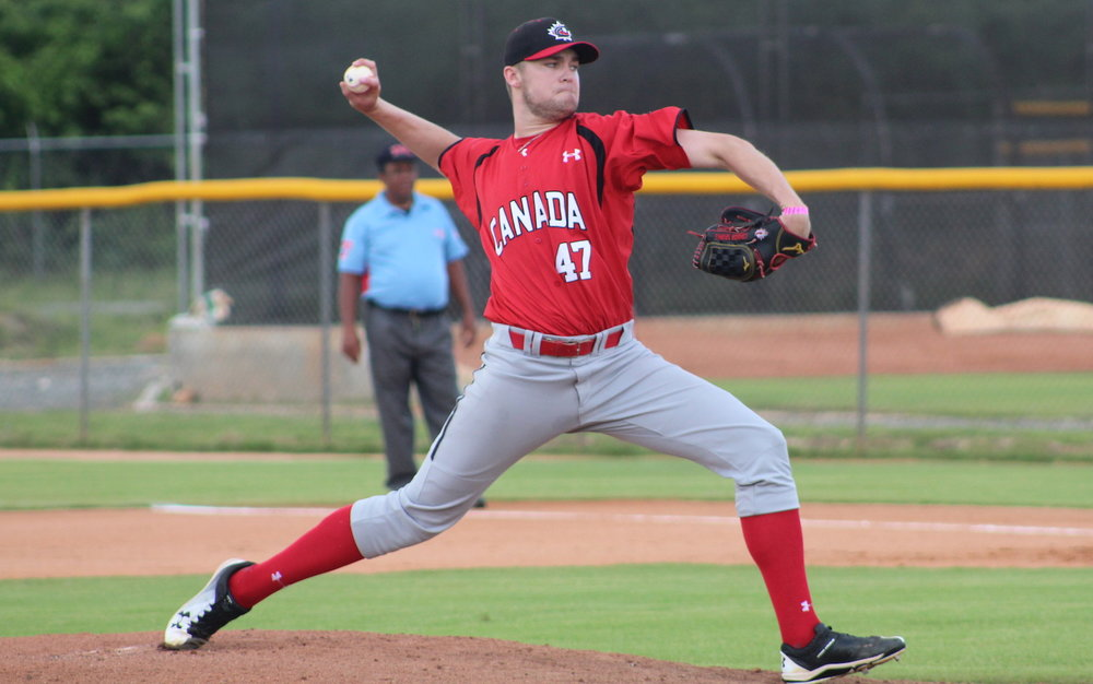 Connor Sparks (Saskatoon, Sask.) allowed just two earned runs in 6 2/3 innings for the Canadian Junior National Team against the Philadelphia Phillies Dominican Summer League squad on Sunday. Photo Credit: Baseball Canada
