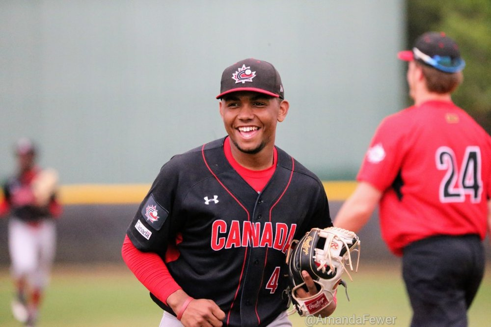 On Monday, LaRon Smith (Spruce Grove, Alta.) had two hits in each of the Canadian Junior National team's games and also hurled two scoreless innings. Photo Credit: Amanda Fewer (File Photo)
