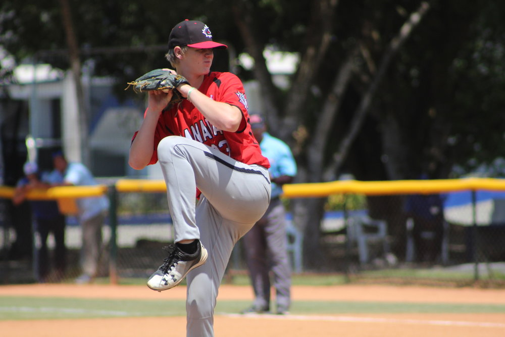 Carter Morris (Vernon, B.C.) didn't allow an earned run in six innings against the Toronto Blue Jays DSL squad on Tuesday. Photo Credit: Baseball Canada