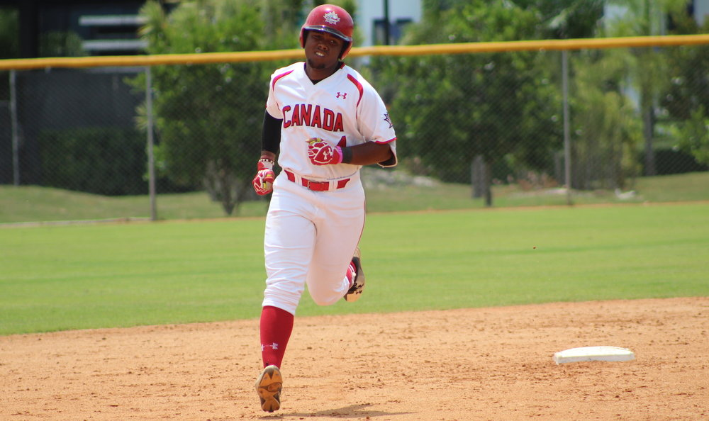 LaRon Smith (Spruce Grove, Alta.) homered for the Junior National Team on Wednesday. Photo Credit: Baseball Canada