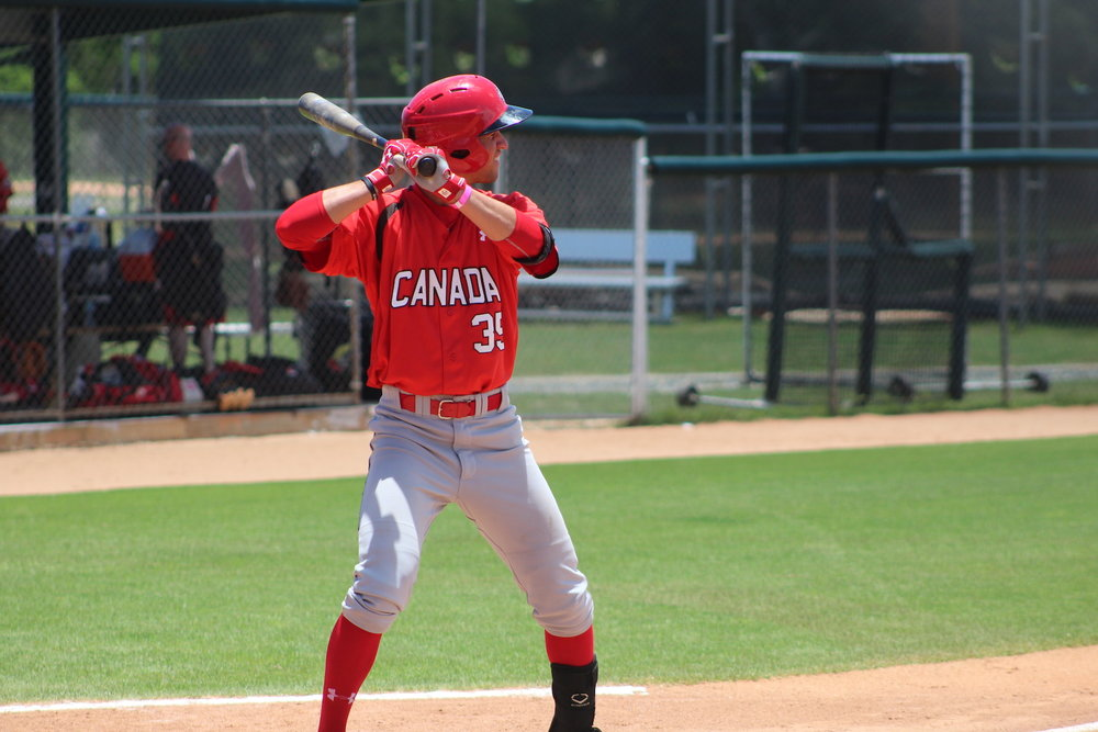 Damiano Palmegiani homered for the second straight day for the Canadian Junior National Team. Photo Credit: Baseball Canada