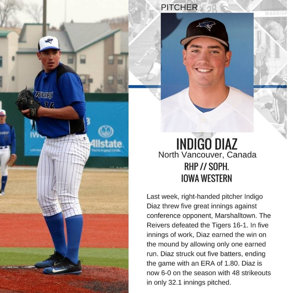 Former North Shore Twins and Coquitlam Reds Indigo Diaz (North Vancouver, BC) led all Canucks with strikeouts this week.