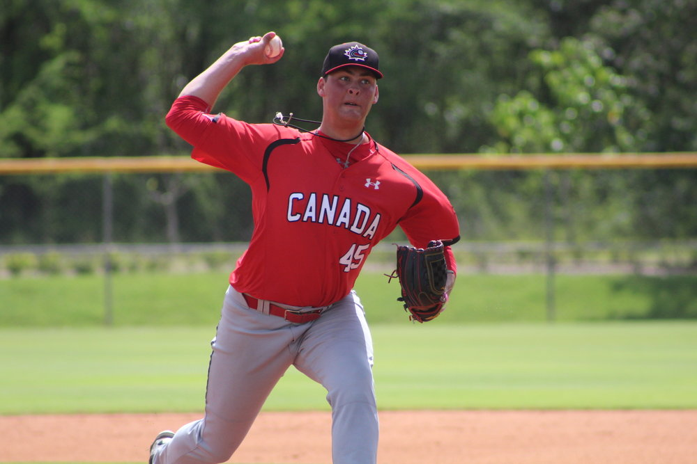 Right-hander Ben Abram (Georgetown, Ont.) allowed just two earned runs and struck out eight in six innings to help the Canadian Junior National Team to a 5-4 win over a DSL Pittsburgh Pirates team in their Dominican tour finale. Photo Credit: Baseball Canada