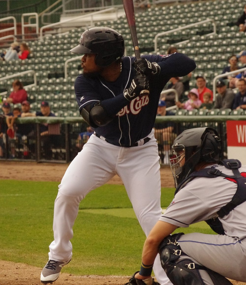 Juan Kelly homered in both ends of a doubleheader for the double-A New Hampshire Fisher Cats on Saturday. Photo Credit: Jay Blue