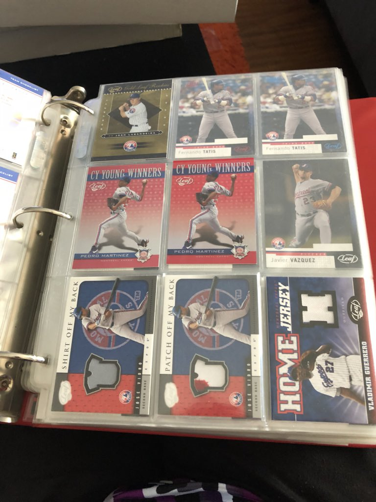 Just one of the binders full of cards in Steve Whitzman's comprehensive Montreal Expos collection. Photo Credit: April Whitzman
