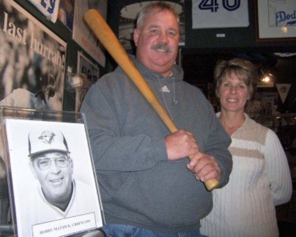 Toronto Blue Jays' first-ever draft pick Tom Goffena (25th overall in 1977) visited the Canadian Baseball Hall of Fame in St. Marys, Ont., in 2008. Photo Credit: Canadian Baseball Hall of Fame.