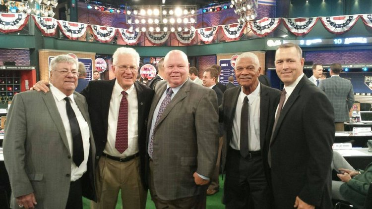The Canadian contingent at the 2017 draft, left to right: Claude Pelletier (Mets), Murray Cook (Tigers), Gord Ash (Brewers) and Denis Boucher (Yankees) ran into Felipe Alou (Giants), a member of the Canadian Baseball Hall of Fame in St. Marys.  _ Photo: Jim Leyland, Detroit Tigers.