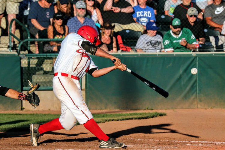 Eddie Sanchez was on base three times for the Okotoks Dawgs in Friday's game. Photo Credit: Amanda Fewer (FILE PHOTO)