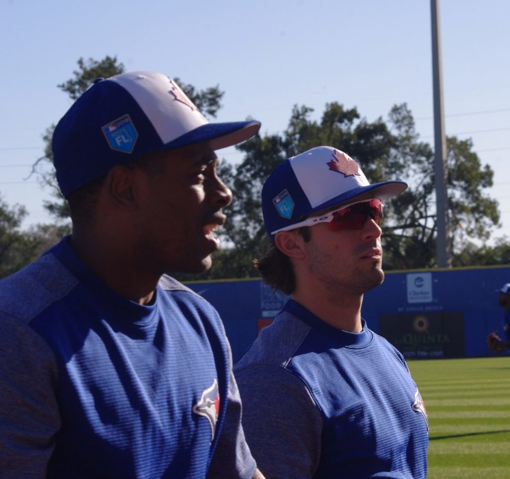 Curtis Granderson (front, left) and Randal Grichuk starred for the Toronto Blue Jays in their recent four-game sweep of the Baltimore Orioles. Photo Credit: Jay Blue