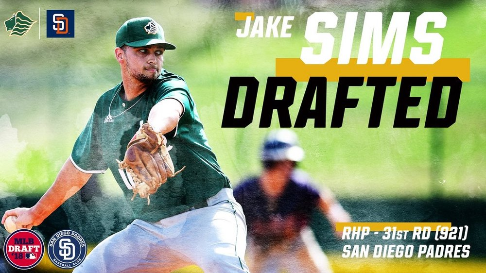 Ontario Terriers grad RHP Jake Sims (Guelph, Ont.) was selected in the 31st round by the San Diego Padres