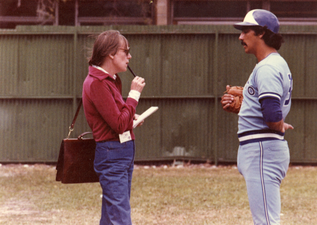 Alison Gordon, the 2018 Jack Graney Award winner, is pictured here interviewing Toronto Blue Jays infielder and Canadian Baseball Hall of Fame inductee Dave McKay (Vancouver, B.C.) in her role as Blue Jays beat writer for the Toronto Star. Photo Credit: Canadian Baseball Hall of Fame