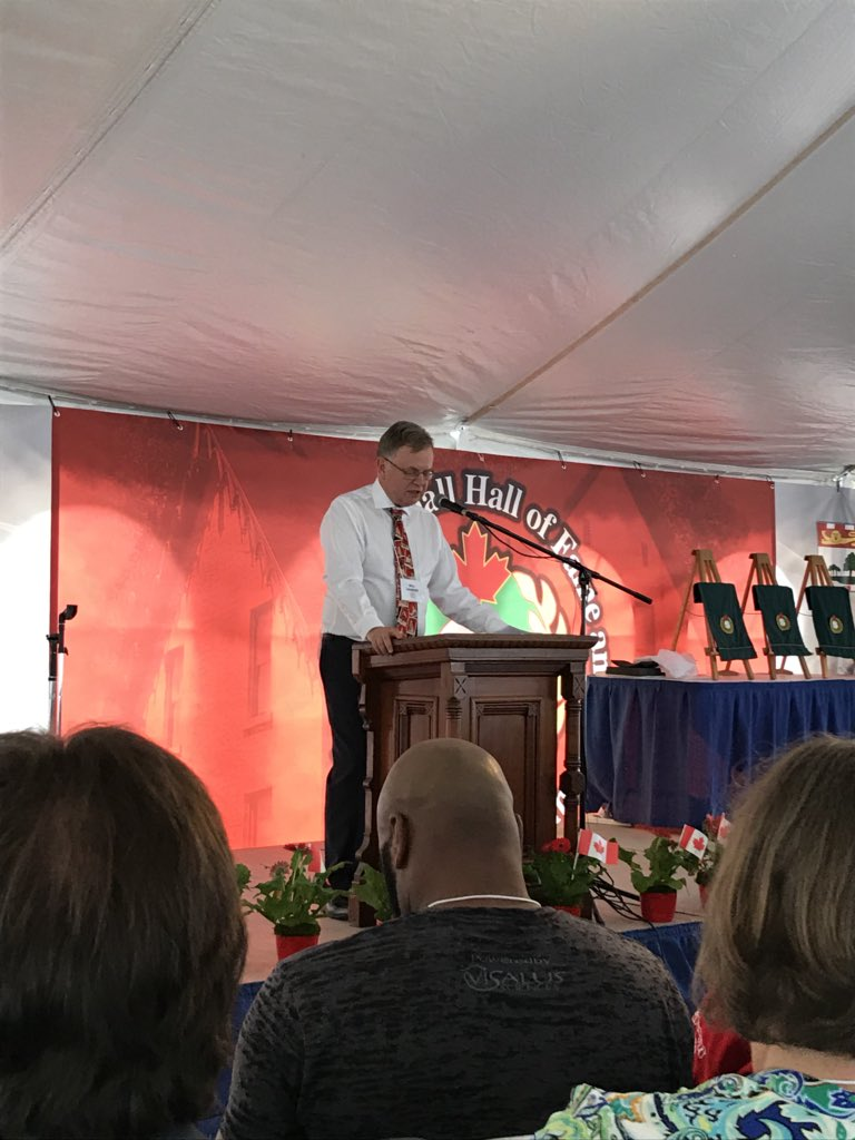 Historian Bill Humber delivers his speech at his Canadian Baseball Hall of Fame induction ceremony on Saturday in St. Marys, Ont. Photo Credit: Canadian Baseball Hall of Fame