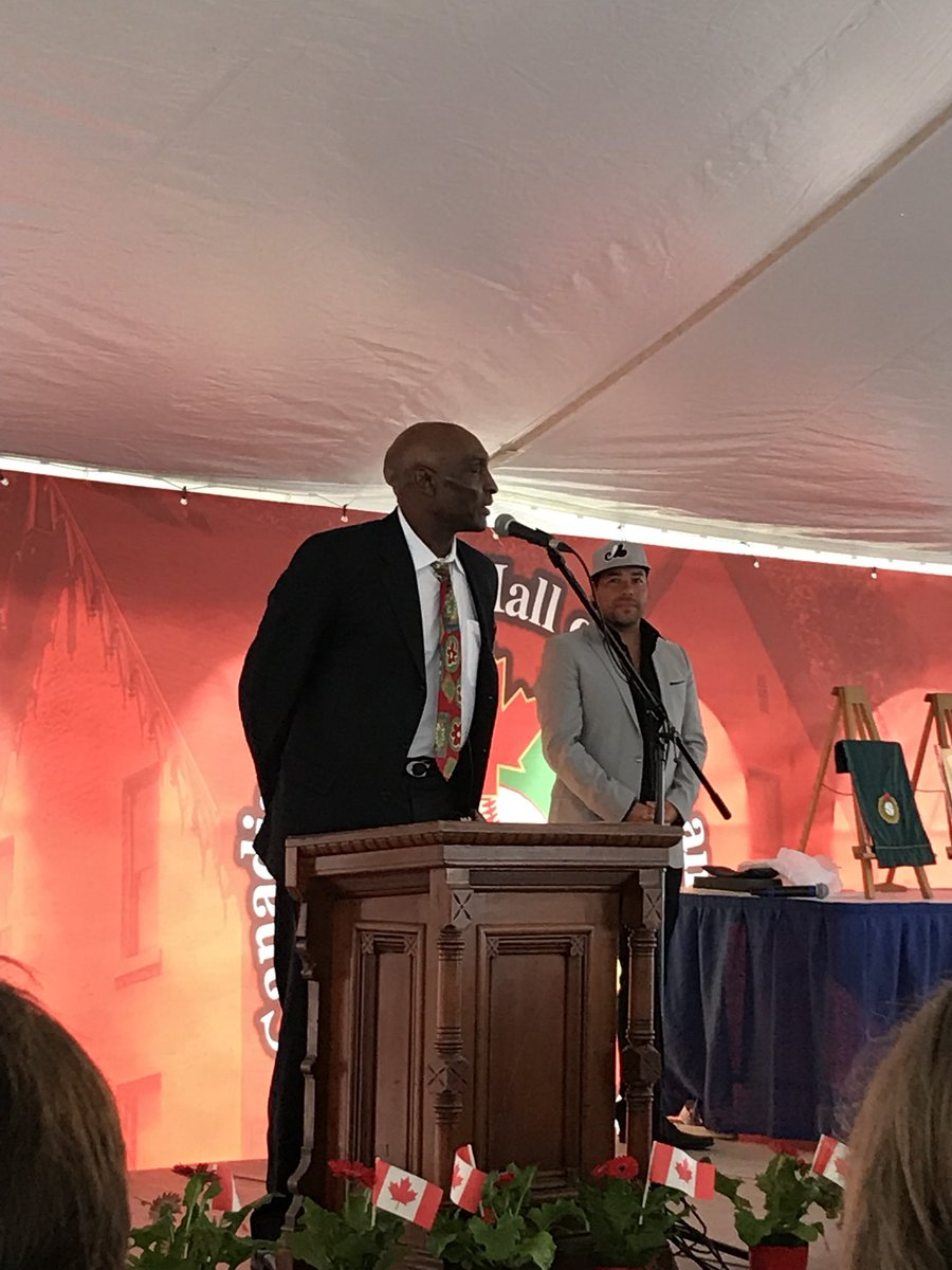 Long-time Toronto Blue Jays outfielder Lloyd Moseby delivered a heartfelt speech when he was inducted into the Canadian Baseball Hall of Fame in St. Marys, Ont., on Saturday. Photo Credit: Canadian Baseball Hall of Fame