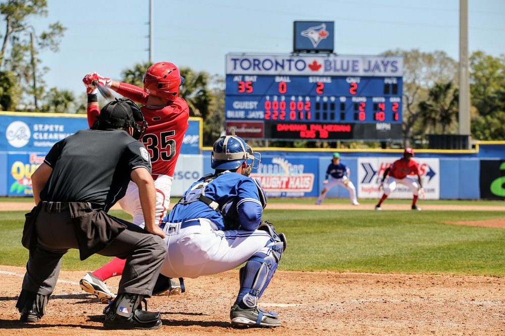 Damiano Palmegiani (Surrey, B.C.) hats against the Toronto Blue Jays in a spring training game. Palmegiani, a Western Major Baseball League alum, was selected in the 35th round by the Blue Jays in the 2018 MLB Draft. Photo Credit: Amanda Fewer