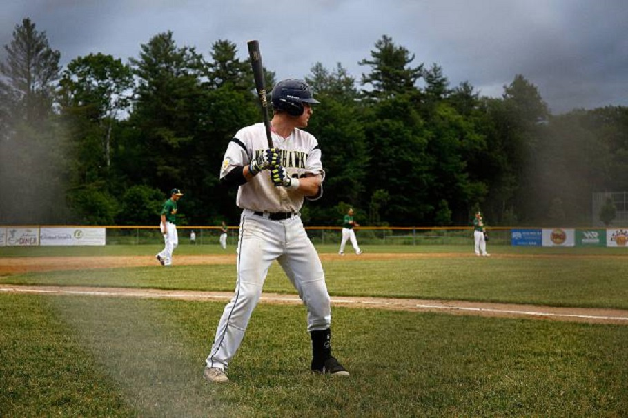 Nighthawks' Anthony Quirion prepares to bat in the seventh inning against the Mainers in White River Junction, Vt. After the first seven games of the season, Quirion has a .320 batting average. Photo: Geoff Hansen.