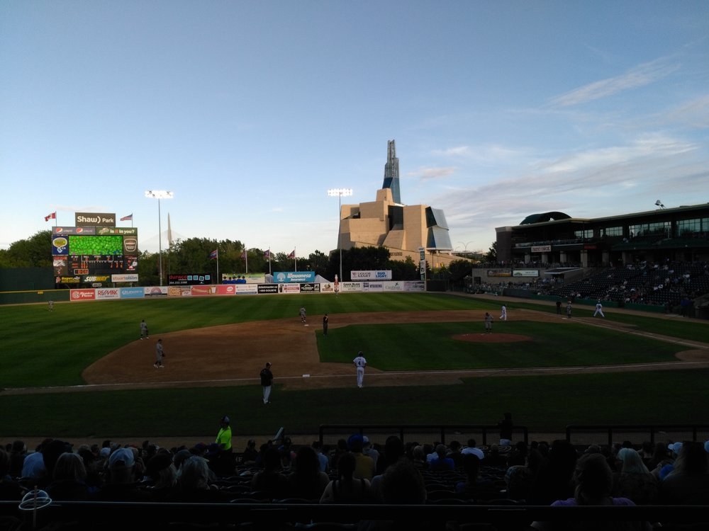 A view of Shaw Park in Winnipeg, home of the independent American Association's Winnipeg Goldeyes. Photo Credit: Jay Blue