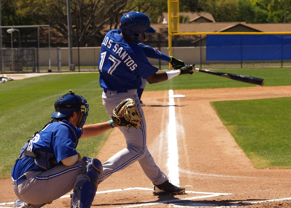 Luis De Los Santos had three hits, including a home run, and three RBIs for the Rookie Ball Bluefield Blue Jays on Tuesday. Photo Credit: Jay Blue
