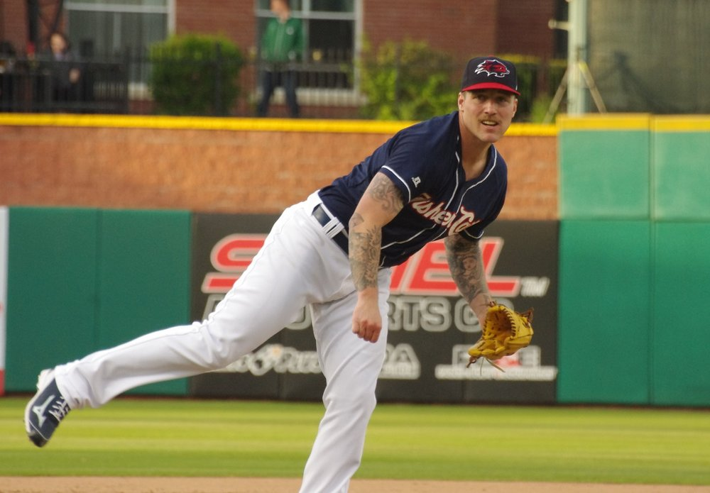 After a rough season with the double-A New Hampshire Fisher Cats in 2017, right-hander Sean Reid-Foley has impressed this season in double-A and triple-A. Photo Credit: Jay Blue