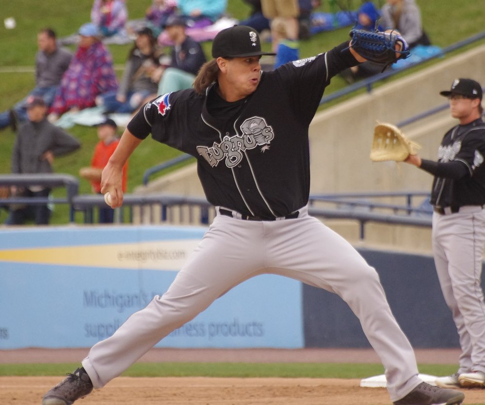 Maverik Buffo pitched seven scoreless innings for the low-A Lansing Lugnuts to pick up his ninth win of the season. Photo Credit: Jay Blue