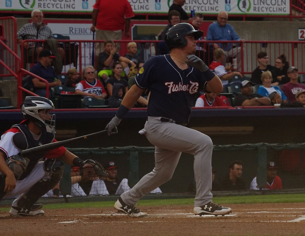Reese McGuire, shown here with the double-A New Hampshire Fisher Cats, had two hits - including a home runs - for the triple-A Buffalo Bisons on Saturday. Photo Credit: Jay Blue