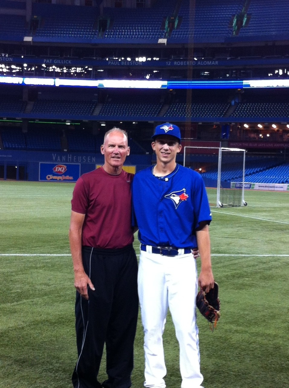 Ray and Ryan Borucki on their visit to the Rogers Centre in 2012 after the June draft.