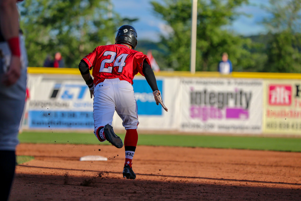 Danny Donnelly hit a home run for the Okotoks Dawgs on Friday. Photo Credit: Amanda Fewer (FILE PHOTO).