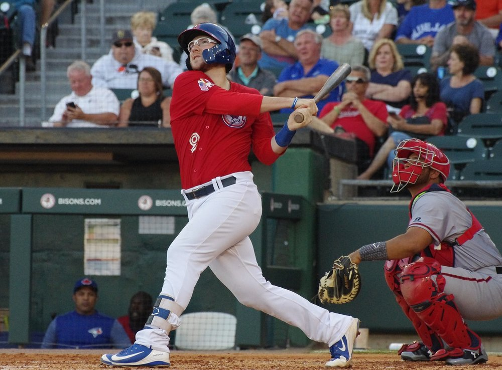 Danny Jansen had two hits - including a home run - for the triple-A Buffalo Bisons on Friday. Photo Credit: Jay Blue
