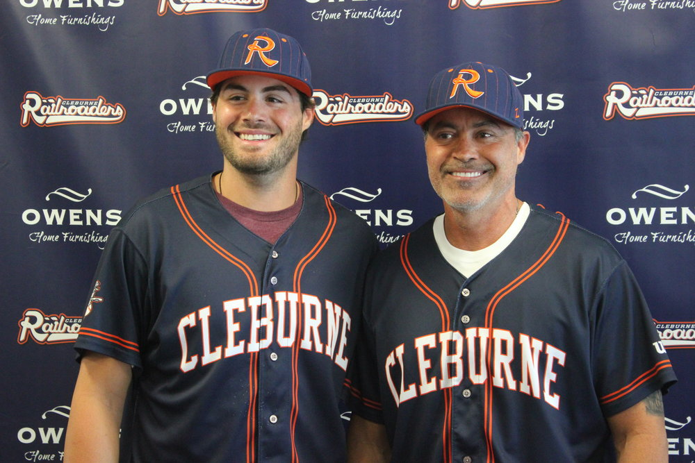 Fifty-three-year-old Rafael Palmeiro (right) is proving that he can still hit professional pitching with the independent American Association's Cleburne Railroaders this season. His son, Patrick (left), is also playing for the Railroaders. Photo Credit: Cleburne Railroaders