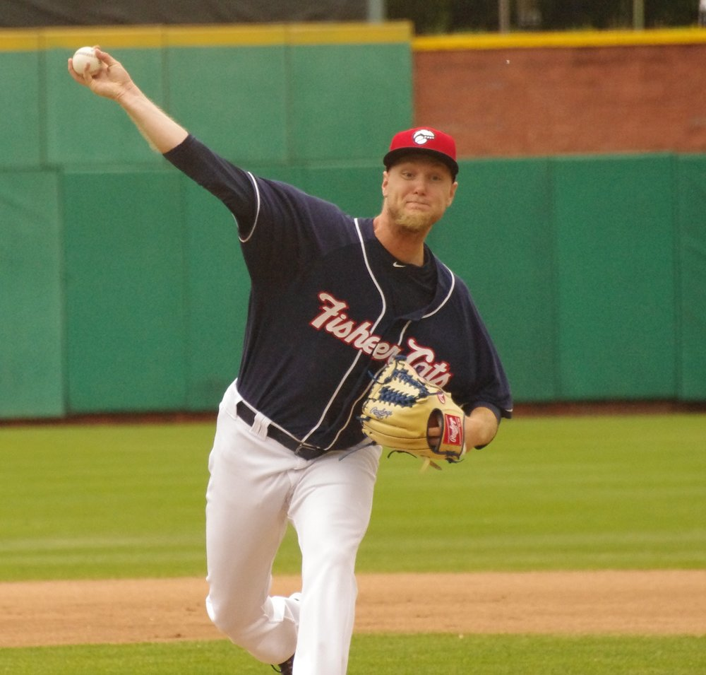 Right-hander Jon Harris allowed just one run in seven innings for the double-A New Hampshire Fisher Cats on Sunday. Photo Credit: Jay Blue