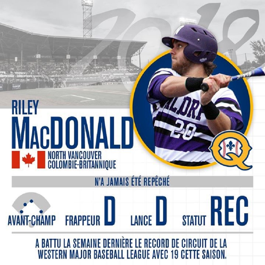 Former North Shore Twin Riley MacDonald was signed out of the Western Canadian Major Baseball League to join the Quebec Capitales.