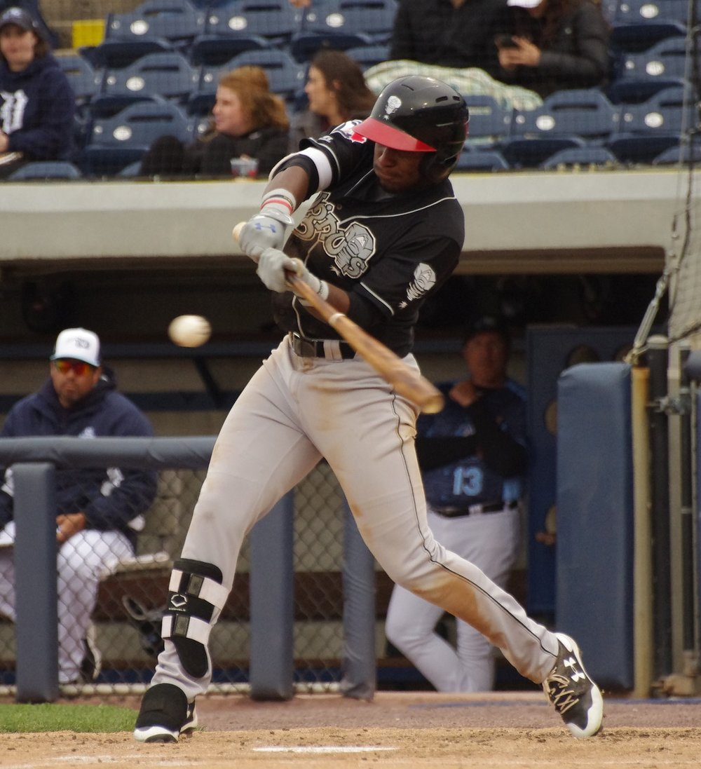 Toronto Blue Jays outfield prospect Chavez Young, 21, owns a .290/.349./451 slash line with 22 stolen bases for low-A Lansing Lugnuts this season. Photo Credit: Jay Blue