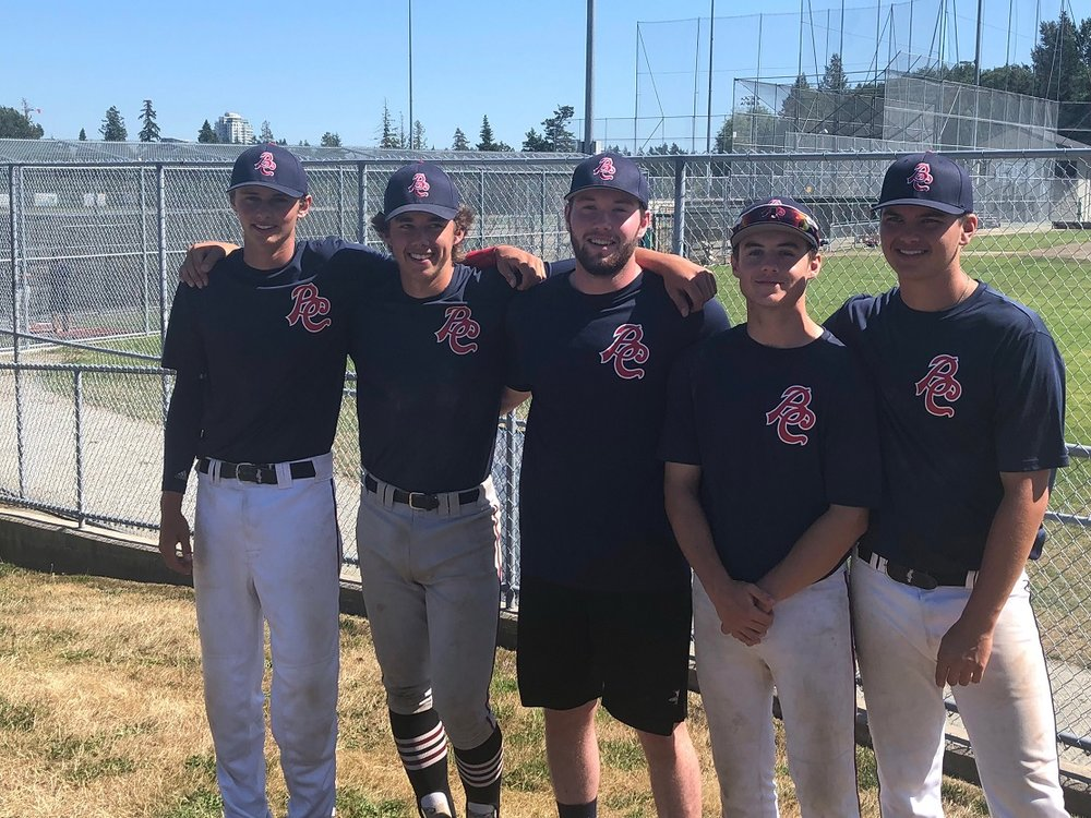 Victoria Eagles bound for the Canada Cup (from left): Jayden Cull, Brad Cox, Gavin Pringle, Dawson Clark and Noah Takacs.