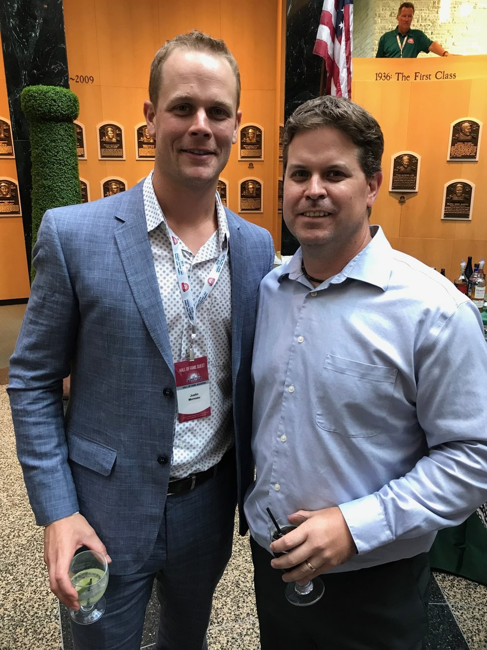 Scott Crawford, the Canadian Baseball Hall of Fame's director of operations,(right) ran into Canadian baseball great Justin Morneau (New Westminster, B.C.) in Cooperstown on Saturday. Photo Credit: Scott Crawford