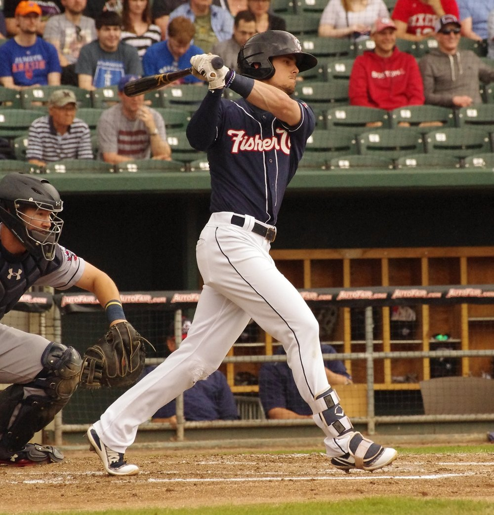 Cavan Biggio homered twice and drove in five for the double-A New Hampshire Fisher Cats on Wednesday. Photo Credit: Jay Blue