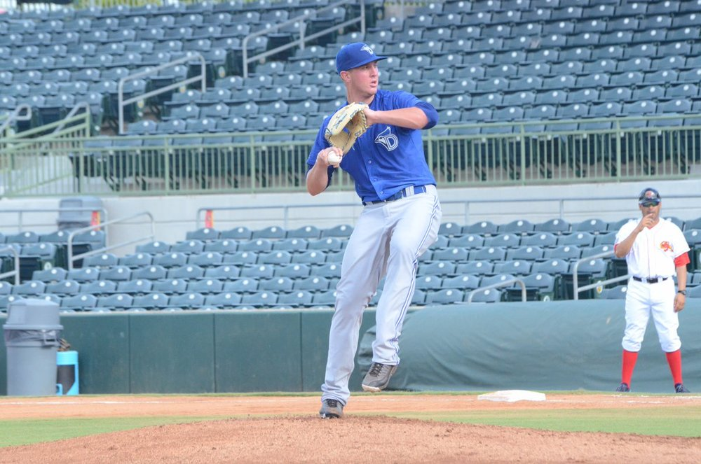 Right-hander Patrick Murphy has persevered through three surgeries to become a top pitcher for the class-A Dunedin Blue Jays this season. Photo Credit: Twitter/Dunedin Blue Jays