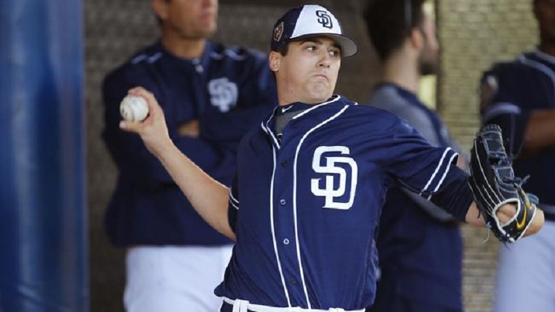 Former Ontario Terriers RHP Cal Quantrill (Port Hope, Ont.) shown here during spring training has been promoted to triple-A El Paso. Photo:K.C. Alfred / San Diego Union-Tribune.