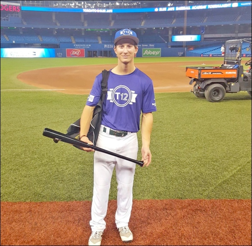Dillon Poschenrieder at Rogers Centre in Toronto in September getting ready to play in Tournament 12. Photo Credit: Sherri Solomko